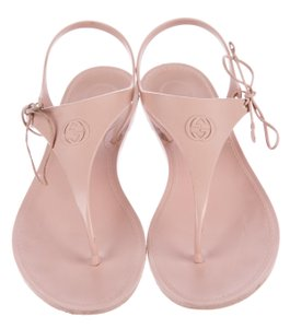 Gucci Ankle Strap Gg Jelly Katina Beige, Pink Sandals