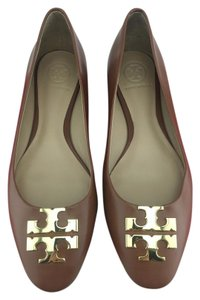Tory Burch Reva Ballet Gold Leather Brown Flats