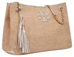 Tory Burch Thea Straw Tassel Travel Summer Tote in Natural gold