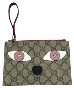 Gucci Cat Handbag Wristlet in Khaki Pink