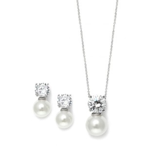 Mariell Cubic Zirconia With Pearl Solitaire Bridal Or Bridesmaid Necklace & Ea