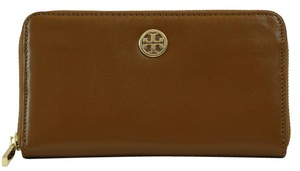 Tory Burch NEW Tory Burch Dena Zip Around Continental Leather Wallet, Brown