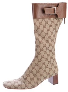 Gucci Monogram Gg Logo Leather Square Toe Beige, Brown Boots