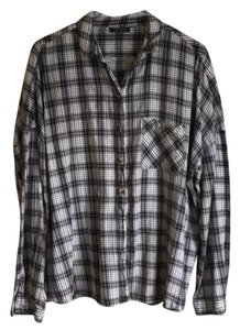 Topshop Black White Plaid Gingham Button Down Shirt