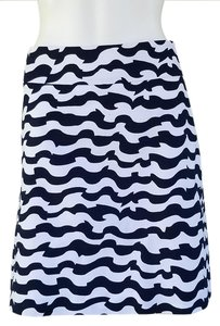 Ann Taylor Wave A-line Skirt Navy Blue, White
