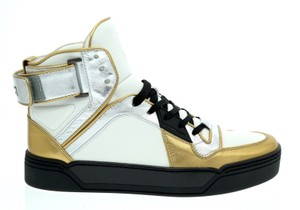 Gucci Gold Silver White High Top Sneakers Multicolor Athletic