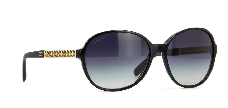 707c9bc72419 Chanel Black Gold Grey 5304 Round Chain Link Quilted Cc Logo Wayfarer  Classic Oval Sunglasses