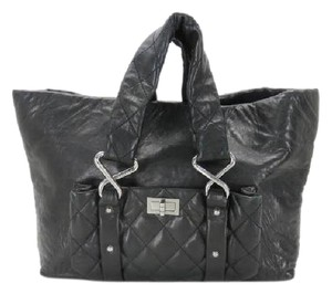 Chanel Lambskin Calfskin Xl Jumbo Diaper Tote in Black