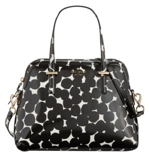 Kate Spade Maise Satchel in Black Cream Gold tone