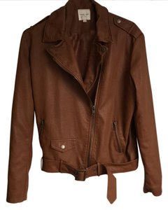 Silence + Noise Faux Tan Zippered Brown Leather Jacket