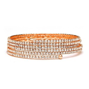 Mariell Rose Gold 5-row Delicate Rhinestone Coil Bracelet 4132b-rg