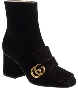Gucci Marmont Fringe Suede Gold Double G Black Boots