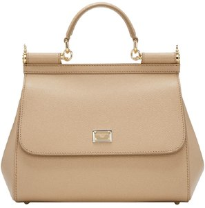 Dolce&Gabbana Leather Nude Satchel in Tan