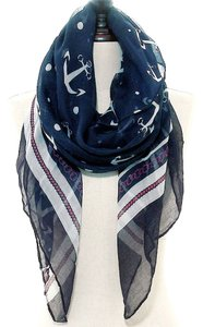 Nautical Anchor Navy Blue Red and White Scarf