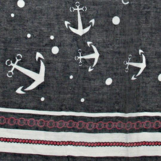 Other Nautical Anchor Navy Blue Red and White Scarf