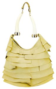 Saint Laurent Horn Tusk Ruffled Leather Overlay Shoulder Bag