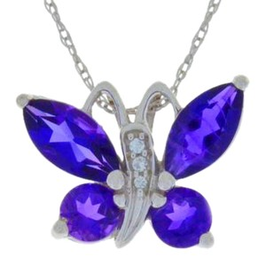 Other 2 Ct Natural Amethyst Butterfly Pendant .925 Sterling Silver