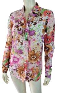 J.Crew Collar Floral Button Front Silk Blend Top Multicolored