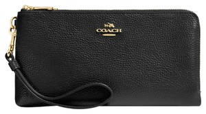 Coach Leather Wallet Pebbled Zipper Classic Wristlet in Black