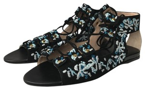 Club Monaco Black with Blue and White Embroidery Sandals