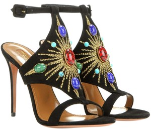 Aquazzura Suede Sandal Hold Embroidery Black Formal