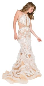Jovani Halter Prom Lace Floral Jeweled Dress