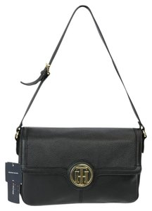 Tommy Hilfiger Flap Leather Gold Hardware Shoulder Bag