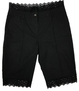 Chanel Lace Trim Run Way Mini/Short Shorts Black