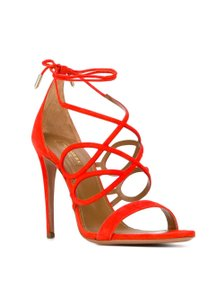 Aquazzura Suede Orange Wrap Cage Clementine Formal