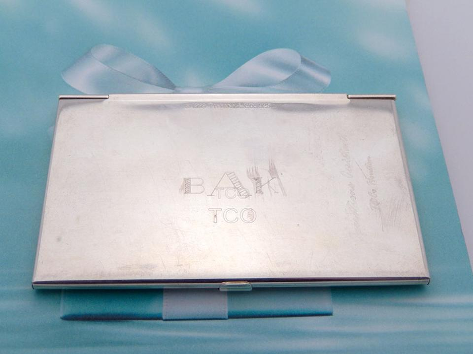 Tiffany co silver sterling business card holder engraved tradesy sterling silver business card holder engraved 12345 colourmoves