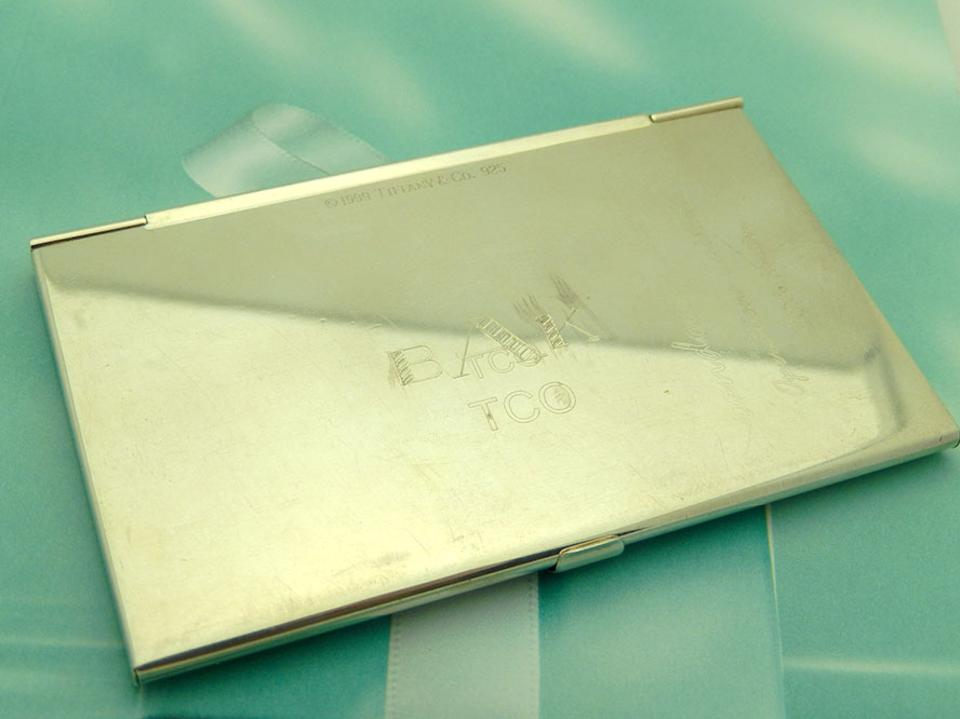 Tiffany co silver sterling business card holder engraved tradesy tiffany co sterling silver business card holder engraved 12345 reheart Choice Image