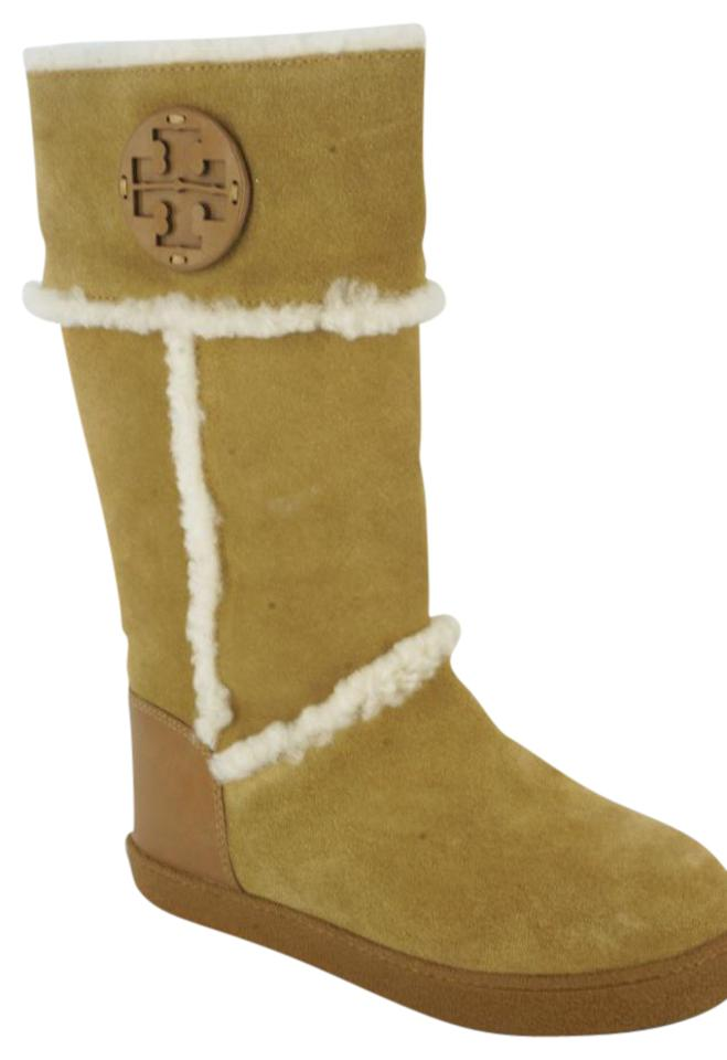 d5e6b0da948f Tory Burch Brown Suede Amelie Shearling Trim Winter Boots Booties ...
