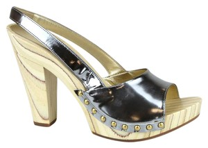 Miu Miu Leather Platform Clog Studded Silver Sandals