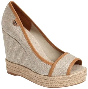 Tory Burch 052015tbmptwtcrpb New With Defects Logo Open Toe Beige Wedges