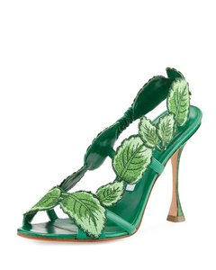 Manolo Blahnik Unique Heel Botanical Leather Green Sandals