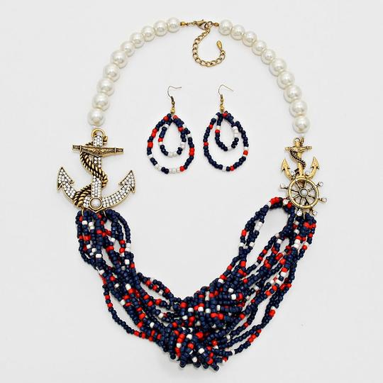Other Nautical Gold Anchor Helm Crystal Accent Pearl Bead Necklace and Earring