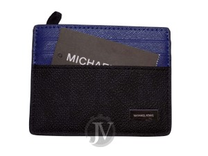 Michael Kors NEW MEN'S MICHAEL KORS JET SET SIGNATURE BLUE BLACK LEATHER CARD CASE