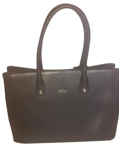 Furla Leather Gold Tote in black