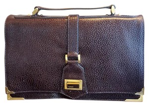 Fendi Vintage Leather Chocolate Brown Clutch