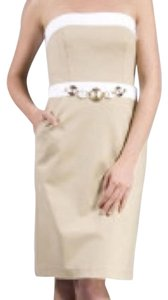 MILLY short dress Khaki & White Stapless Nyc Tan Gold Belt on Tradesy