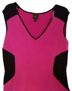 Worthington Top Bright pink fushia. With black accent areas
