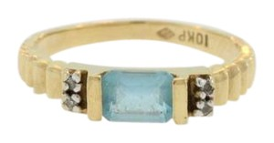 Other Antique Aquamarine Textured Ring- 10k Yellow Gold