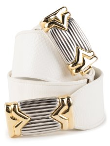 Judith Leiber Judith Leiber white lizard adjustable belt