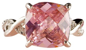 rlss White Gold Filled 3 Carat Cushion Cut Pink Topaz Ring Crossover Band 7