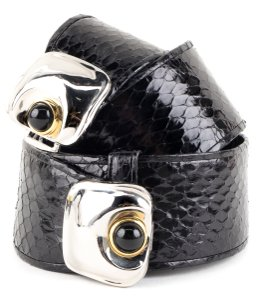 Judith Leiber Judith Leiber black snakeskin adjustable belt