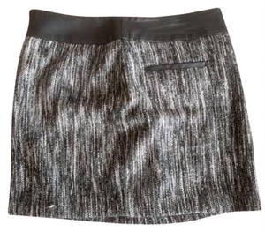 Calvin Klein Workattire Leathertrim Woolblend Mini Skirt Black & White