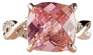 rlss White Gold Filled 3 Carat Cushion Cut Pink Topaz Ring Crossover Band 8
