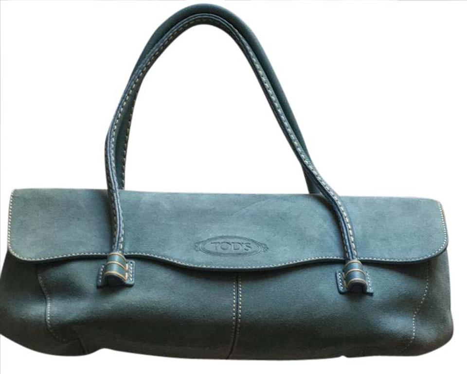Tod S Wave Flap Blue Suede Shoulder Bag 51 Off Retail