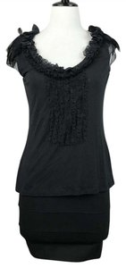 Elie Tahari Feather Ruffle Knit Top Black