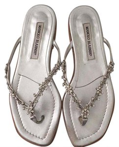 Manolo Blahnik Unique Wedding Jeweled Comfortable silver Sandals